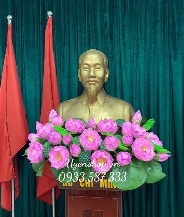 Hoa lụa, hoa giả Uyên shop, Hoa Sen trang trí Tượng Bác