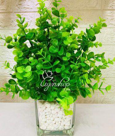 Hoa lụa, hoa giả Uyên shop, Lọ cây xanh mát