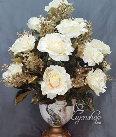 Hoa lụa, hoa giả Uyên shop, Bình hoa Phong Cách Châu Âu