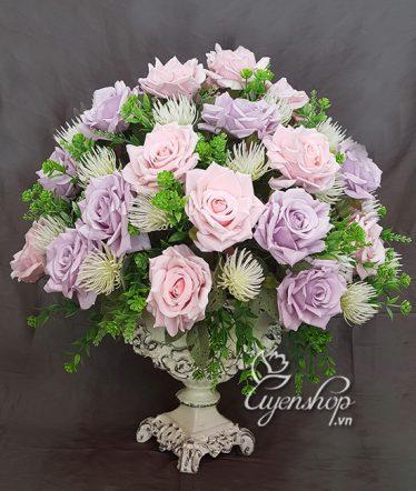 Hoa lụa, hoa giả Uyên shop, Bình Hoa Hồng xinh