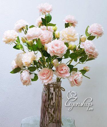 Hoa lụa, hoa giả Uyên shop, Bình Hoa Hồng Trà