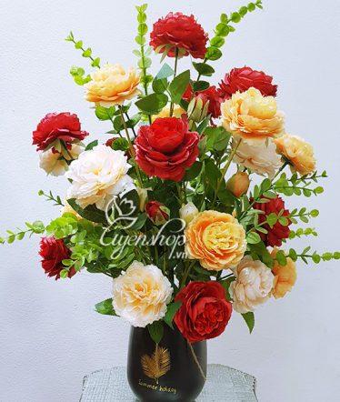 Hoa lụa, hoa giả Uyên shop, Bình Hoa Trà xinh