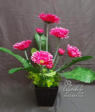 Hoa lụa, hoa giả Uyên shop, Bình hoa Đồng Tiền