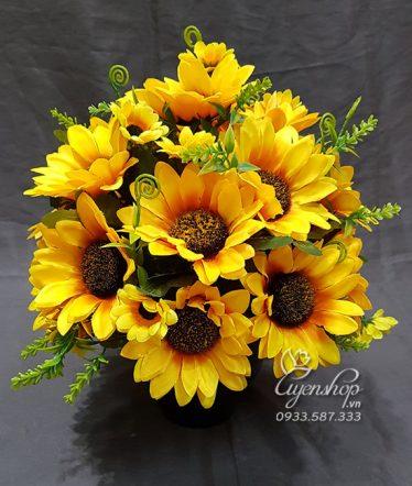 Hoa lụa, hoa giả Uyên shop, Bình Hướng Dương Rực Rỡ