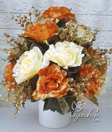 Hoa lụa, hoa giả Uyên shop, Hoa Hồng Sang Trọng