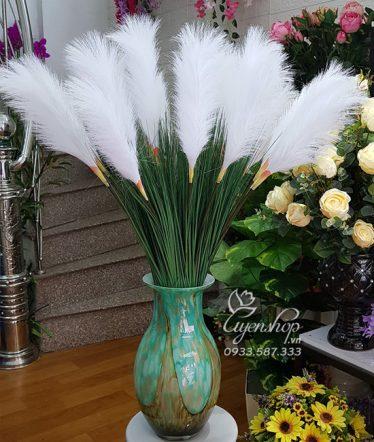 Hoa lụa, hoa giả Uyên shop, Bình Lau Trắng Tự Nhiên