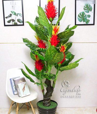 Hoa lụa, hoa giả Uyên shop, Cây giả, cây 5 đầu đỏ may mắn