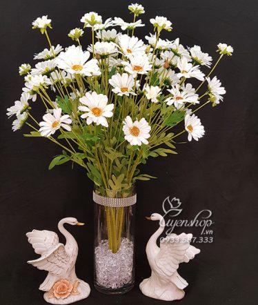 Hoa lụa, hoa giả Uyên shop, Cúc Hoa Mi trắng