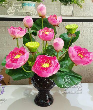 Hoa lụa, hoa giả Uyên shop, Bình Sen Thái đẹp