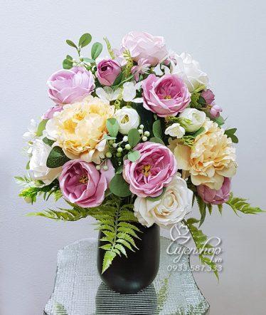 Hoa lụa, hoa giả Uyên shop, Bình Mẫu Đơn, Hồng Trà