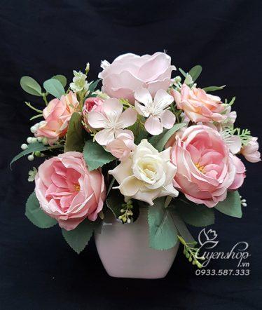 Hoa lụa, hoa giả Uyên shop, Hoa Để Bàn Xinh