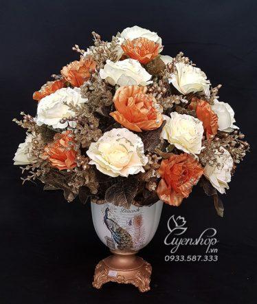 Hoa lụa, hoa giả Uyên shop, Bình hoa Chim Công May Mắn