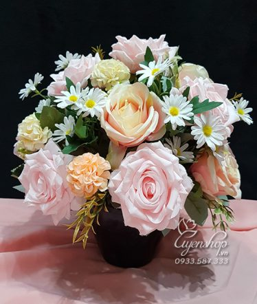 Hoa lụa, hoa giả Uyên shop, Hoa Để Bàn – Hồng Xinh