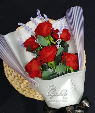 Hoa lụa, hoa giả Uyên shop, Bó Hồng Nhung