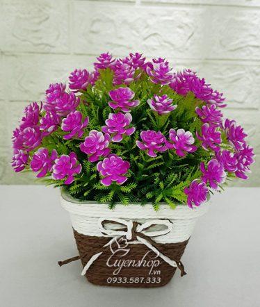 Hoa lụa, hoa giả Uyên shop, Chậu hoa Tím xinh