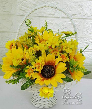 Hoa lụa, hoa giả Uyên shop, Giỏ Hoa Hướng Dương