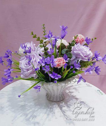Hoa lụa, hoa giả Uyên shop, Giỏ Hoa Hồng Tím