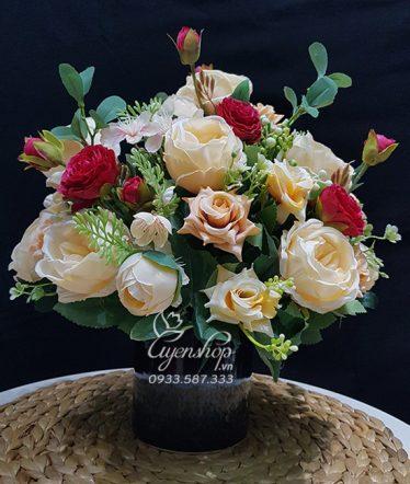 Hoa lụa, hoa giả Uyên shop, Bình Hoa Để Bàn