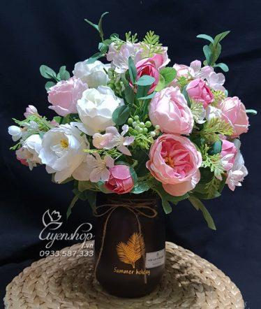 Hoa lụa, hoa giả Uyên shop, Bình Hoa Trà Hồng