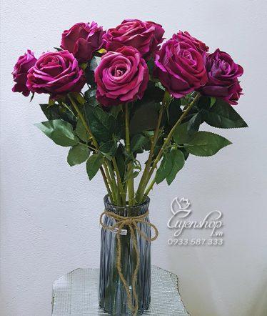 Hoa lụa, hoa giả Uyên shop, Bình Hồng Tím