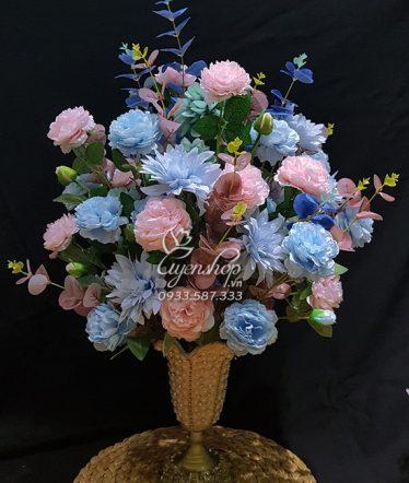 Hoa lụa, hoa giả Uyên shop, Bình Hông Trà xanh