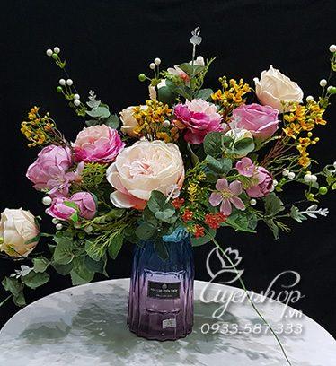 Hoa lụa, hoa giả Uyên shop, Bình Hoa Trà Nghệ Thuật