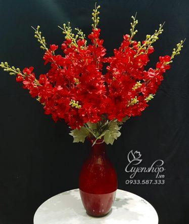 Hoa lụa, hoa giả Uyên shop, Bình Phi Yến Đỏ