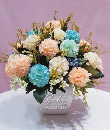 Hoa lụa, hoa giả Uyên shop, Hoa Tú Cầu xanh