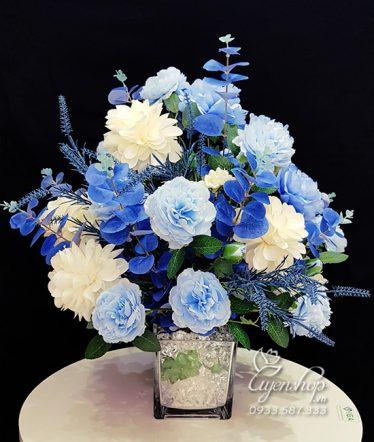 Hoa lụa, hoa giả Uyên shop, Bình Hoa Màu Xanh Dương