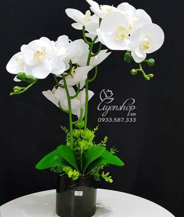 Hoa lụa, hoa giả Uyên shop, Bình Lan Trắng Sang Trọng