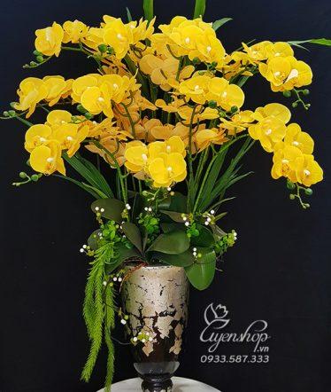 Hoa lụa, hoa giả Uyên shop, Bình Lan Vàng Sang Trọng