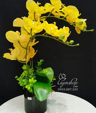 Hoa lụa, hoa giả Uyên shop, Bình Lan Vàng Cao Cấp