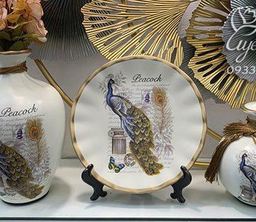 Hoa lụa, hoa giả Uyên shop, Bộ 3 Chim Công May Mắn