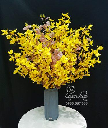 Hoa lụa, hoa giả Uyên shop, Bình Mai Mỹ vàng