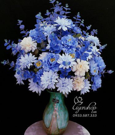 Hoa lụa, hoa giả Uyên shop, Bình Mẫu Đơn Xanh Phòng Khách