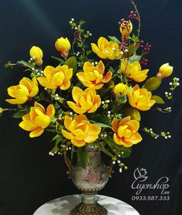 Hoa lụa, hoa giả Uyên shop, Bình Mộc Lan phòng khách