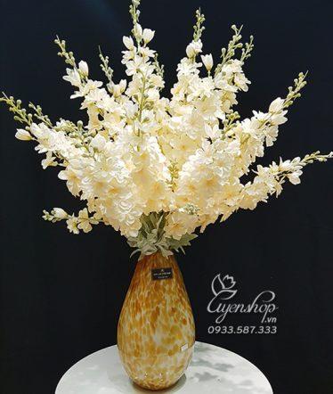 Hoa lụa, hoa giả Uyên shop, Bình Phi Yến màu Kem
