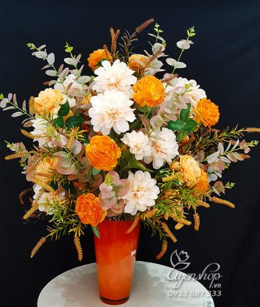 Hoa lụa, hoa giả Uyên shop, Hoa Phòng Khách Rực Rỡ