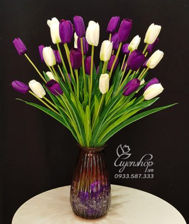 Hoa lụa, hoa giả Uyên shop, Bình Tulip Trắng Tím Sang Trọng