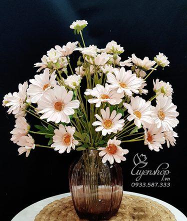 Hoa lụa, hoa giả Uyên shop, Bình Cúc Họa Mi Hồng