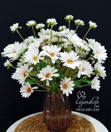 Hoa lụa, hoa giả Uyên shop, Bình Cúc Họa Mi trắng