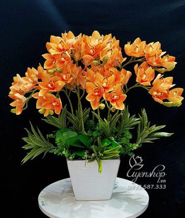 Hoa lụa, hoa giả Uyên shop, Chậu Địa Lan Lụa