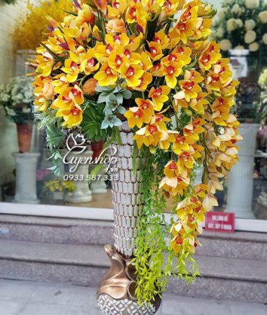 Hoa lụa, hoa giả Uyên shop, Bình Hoa Địa Lan Lớn