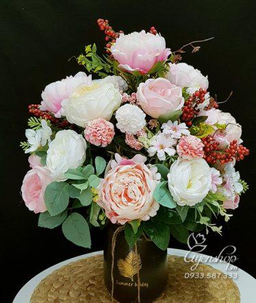 Hoa lụa, hoa giả Uyên shop, Bình Hoa Để Bàn Xinh