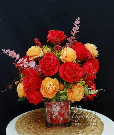 Hoa lụa, hoa giả Uyên shop, Bình Hồng Đỏ Để Bàn