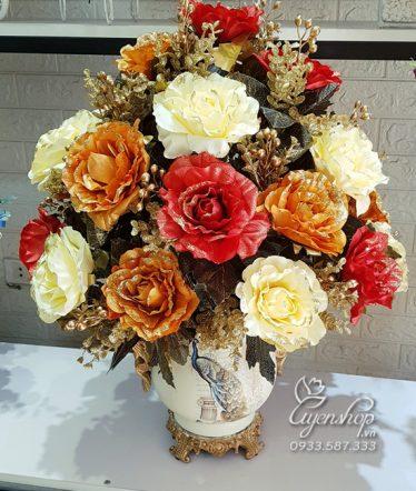 Hoa lụa, hoa giả Uyên shop, Bình Hồng Nhũ Sang Trọng