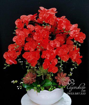 Hoa lụa, hoa giả Uyên shop, Bình Lan Hồ Điệp Đỏ