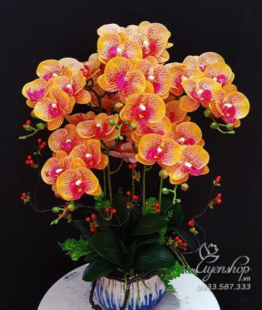 Hoa lụa, hoa giả Uyên shop, Bình Lan Vàng Đốm