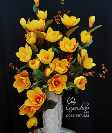 Hoa lụa, hoa giả Uyên shop, Bình Mộc Lan Lụa Cao Cấp