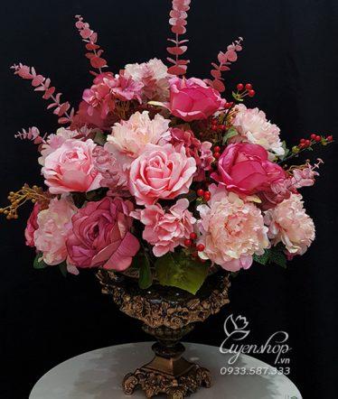 Hoa lụa, hoa giả Uyên shop, Bình Hoa Hồng Mẫu Đơn